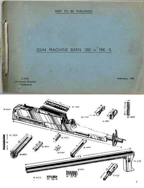 Bren 1942 MKII .303 Light Machine Gun Parts Manual (UK)