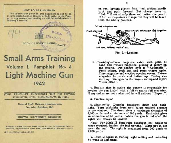 Bren 1942 .303 Light Machine Gun- Small Arms Union of South Africa -Manual