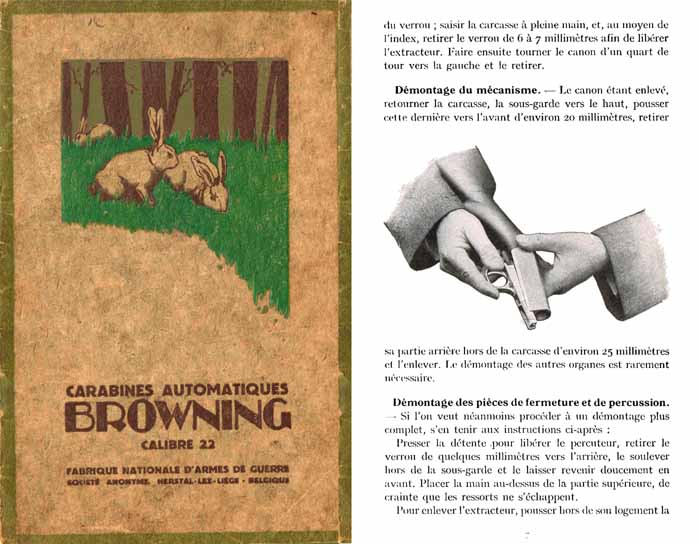 Browning 1929 FN .22 short Carabine Automatique Manual (in French)