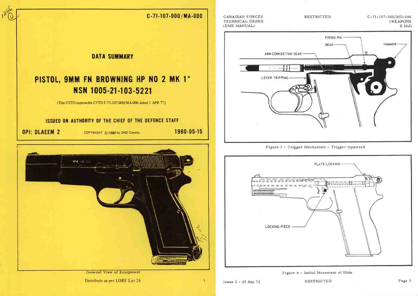 Browning 1980 FN 9mm No. 2, Mark 1 Manual- Canadian
