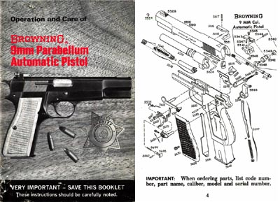 Browning 1970 (circa) 9mm Parabellum Automatic Pistol Manual