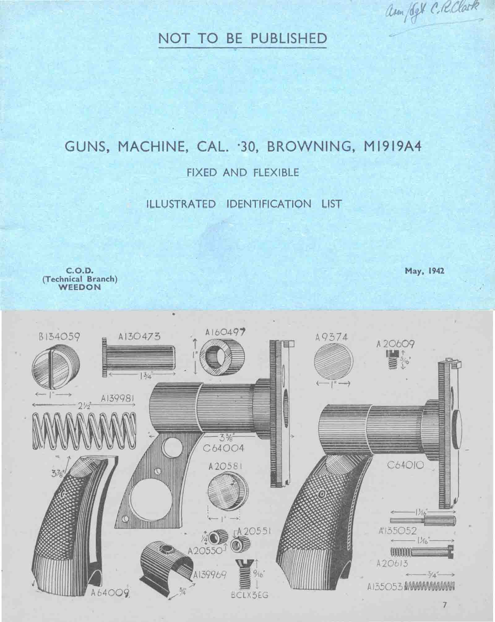 Browning 1942 M1919A4 MG Illustrated Parts List (UK)- Manual