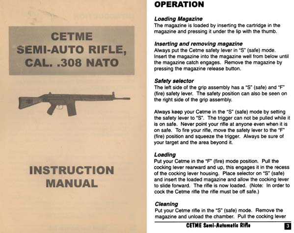 Cetme Semi-Auto Rifle Cal .308 NATO Manual