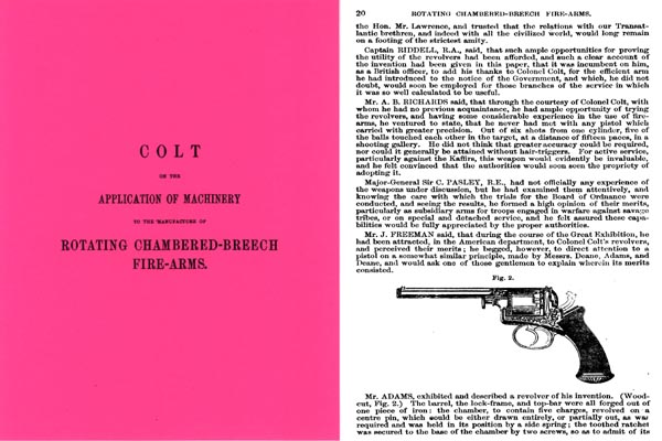 On the Application of Machinery 1855 in the Mfr of Rotating Chambered Breech Fire Arms