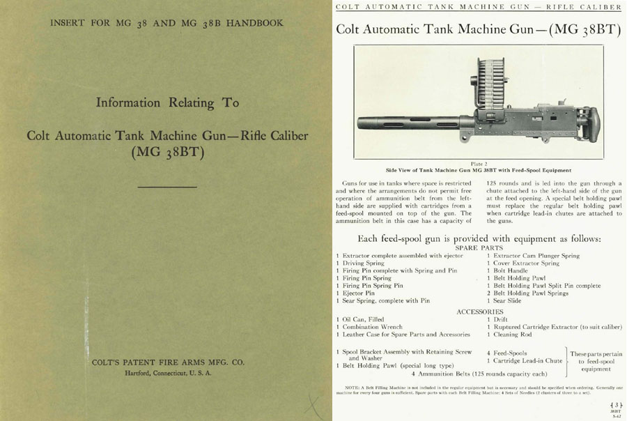 Colt 1942 MG38BT Tank Machine Gun Manual Supl.