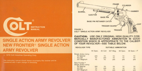 Colt 1978 Single Action Army Revolver, New Frontier SAA Revolver Manual