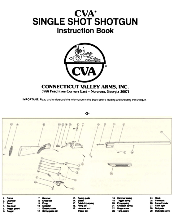 CVA Single Shot Shotgun Manual