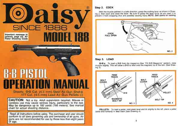Daisy Model 188 Air Pistol c1985 Manual