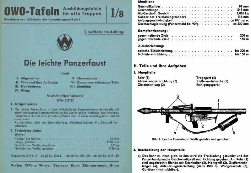 Die leichte Panzerfaust c1960 German Manual