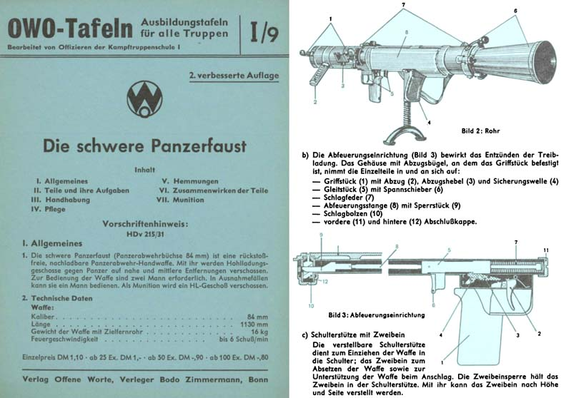 Die schwere Panzerfaust c1960 German Manual