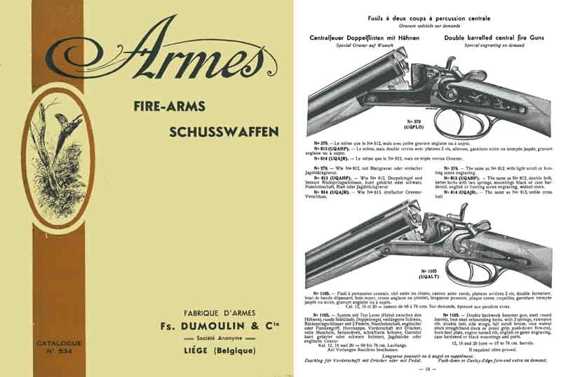 DuMoulin c1934 and Co Firearms/Schusswaffen Catalog, Liege, Belgium