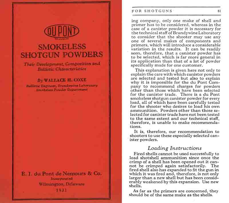 Dupont 1931 Smokeless Powders Story of Their Development