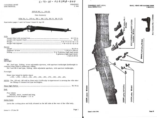 Lee Enfield Rifle c1955 No.4 .303 MK1, Mk1(T) Mk1*, Mk1*(T)