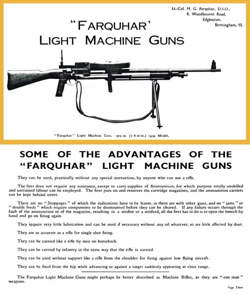 Farquhar 1934 .303 Light Machine Gun Guide & .50 Anti-Tank Gun (UK)