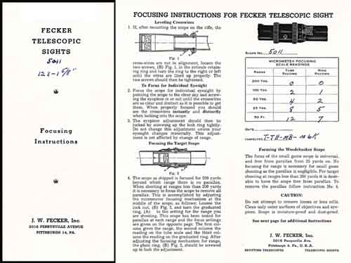 Fecker c1939 Rifle Telescope Manual