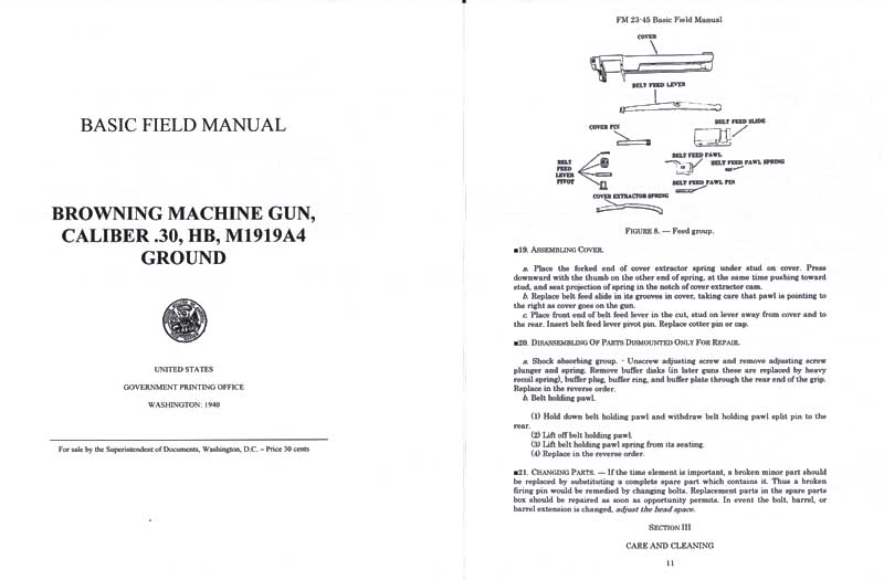 FM 23-45 1940 Browning Machine Gun Cal .30 HB M1919A4 Ground Basic Field Manual