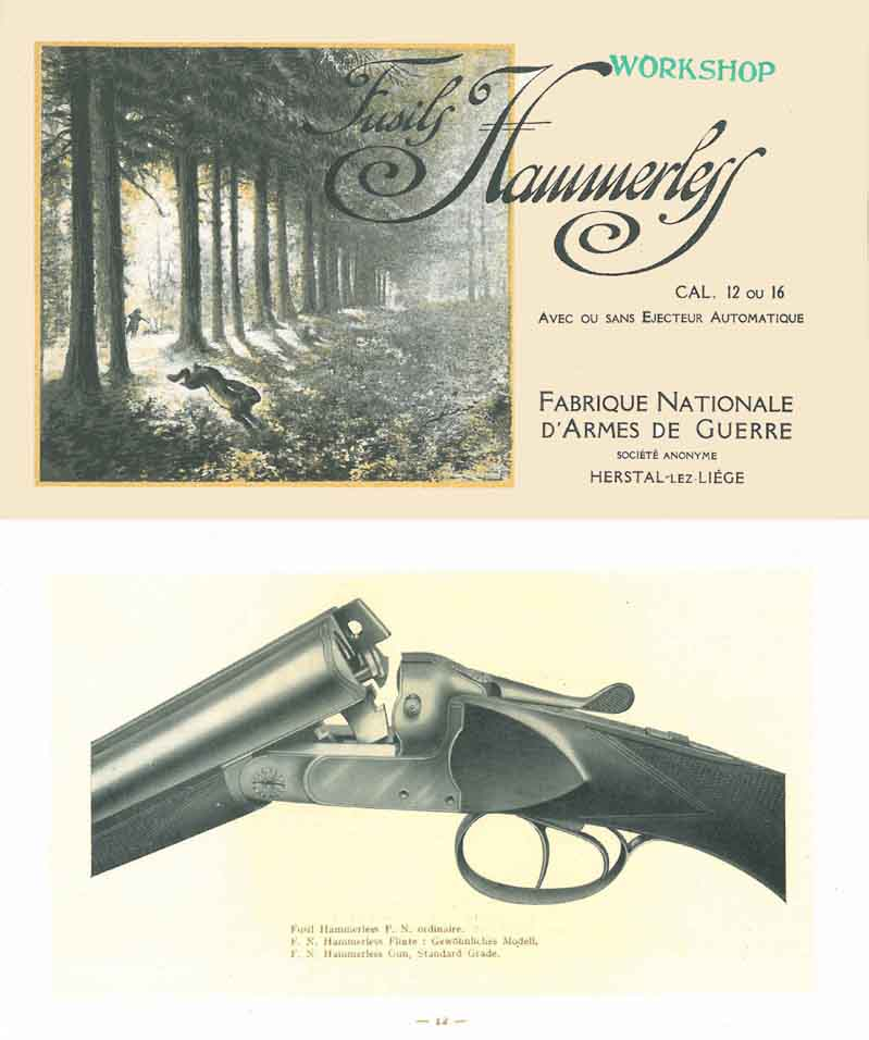 FN c1928 Fabrique Nationale Hammerless Guns Catalog