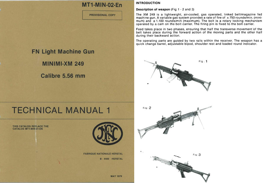 FN 1979- Manual Light Machine Gun MINIMI-XM 249 cal 5.56 MT1-MIN-02-En