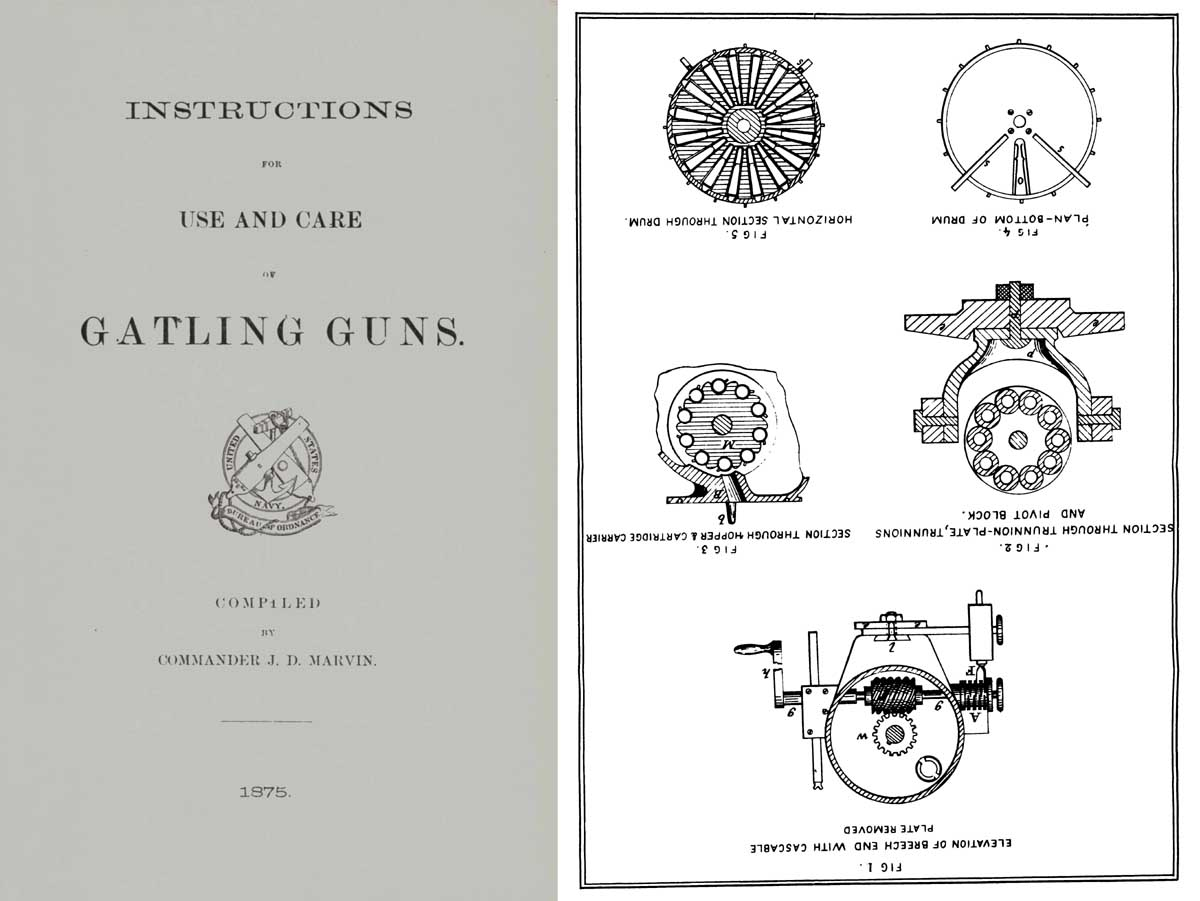Gatling Guns 1875 Instructions for Care and Use by Marvin- Manual
