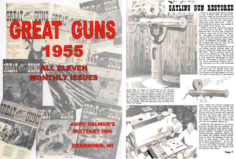 Great Guns 1955- all 11 Monthly Magazines by Andy Palmer- Military Inn, Detroit
