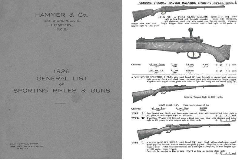 Hammer and Co. 1926 Sporting Rifles and Guns Catalog, London