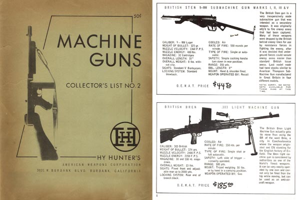 Hy Hunter 1956 Machine Gun Catalog