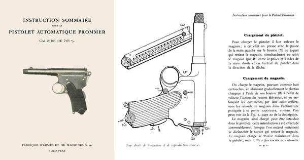 Frommer- Instruction  pour le Pistolet Auto c1901- Budapest- Manual
