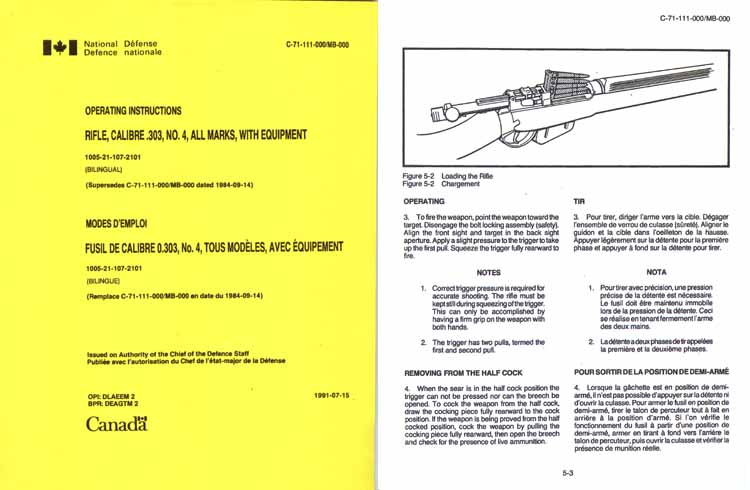 Lee Enfield No. 4 All Marks w/ Equip- Operating Instructions- Canadian Natl. Defense