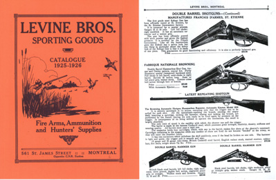 Levine Brothers 1925-26 Gun & Sport Catalog- Montreal, Canada