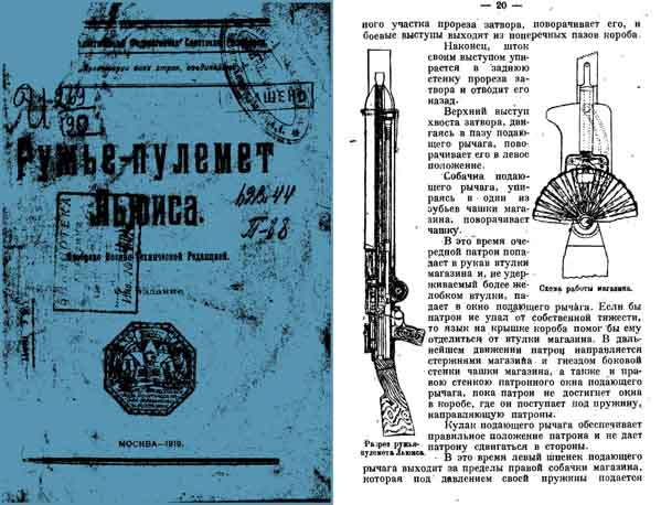 Lewis Machine Gun 1919- Russian Manual