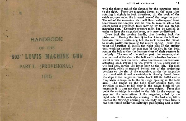 Lewis 1915 Machine Gun .303 Part 1 (Provisional) Hanbook- UK