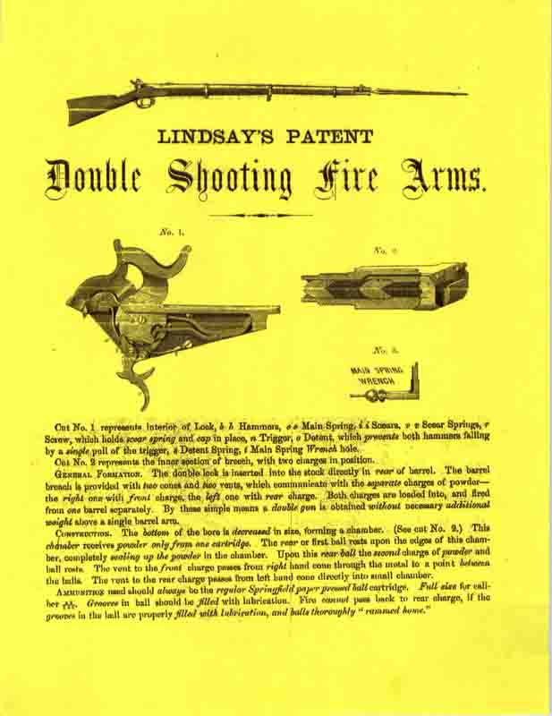 Lindsay's Patent Double Shooting Firearms c1863 Flyer-Manual