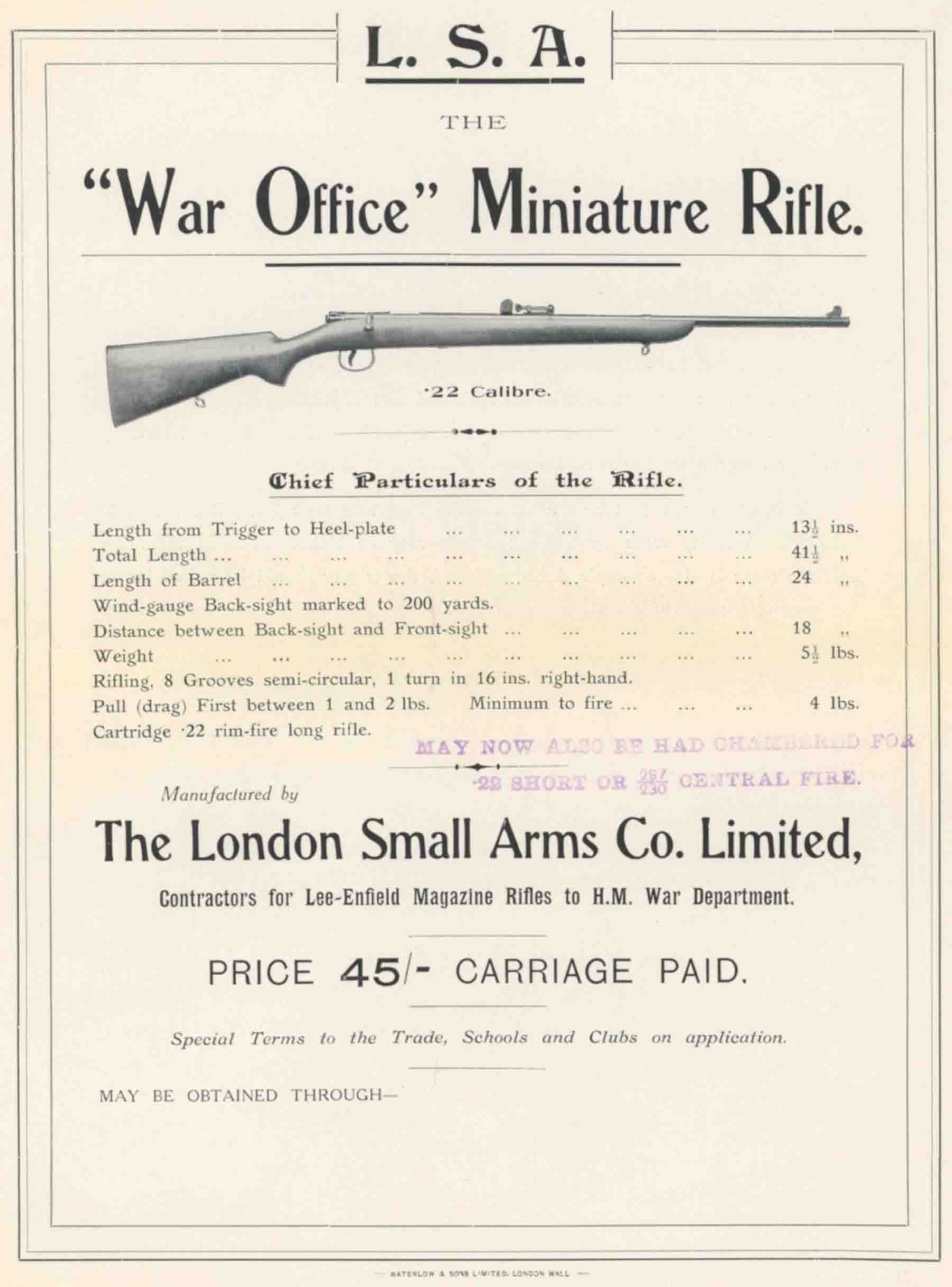 London Small Arms Co c1910s