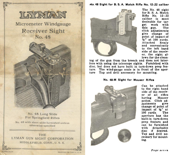 Lyman No. 48 Sight Manual