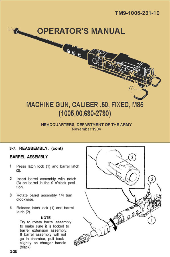 M85 1984 .50 Caliber Fixed MG Operators Manual TM 9-1005-231-10