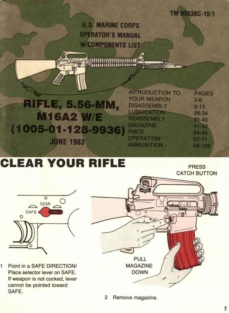 TM 05538c-10/1-M16A2 W/E 5.56mm U.S.M.C. Operator's Manual 1983