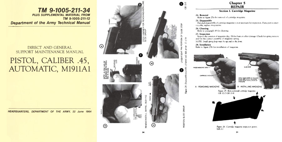 M1911A1 Pistol- Cal .45 Automatic 1964 TM 9-1005-211-34 Manual