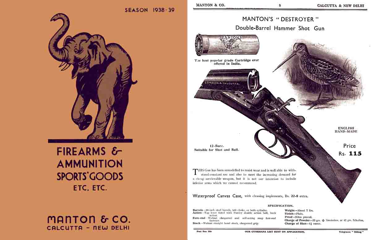 Manton 1938-1939 Firearms and Ammunition Catalog (Calcutta, India)