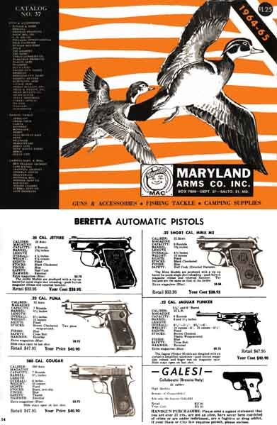 Maryland Arms 1964-65 Gun Catalog, Baltimore, MD