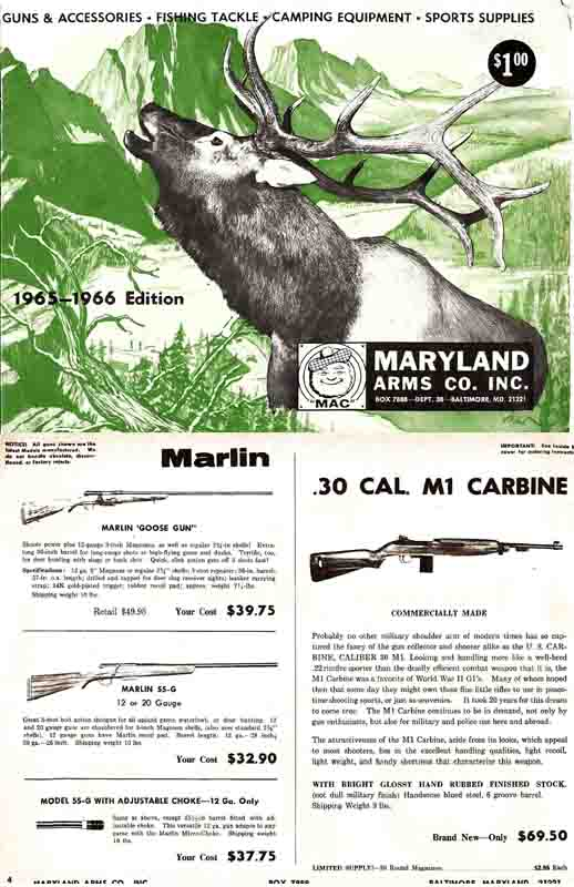 Maryland Arms 1965-66 Catalog Baltimore, MD