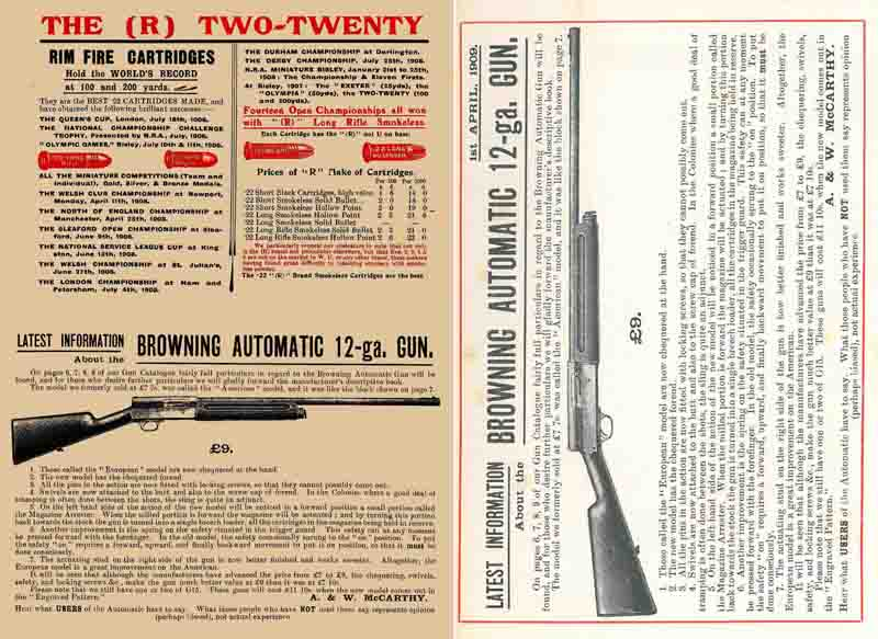 A&W McCarthy 1909 Browning and Guns Catalog, New Zealand