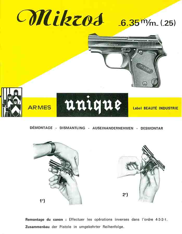 Manufacture d'Armes des Pyrennes- Unique Mikros 6.35mm Pistol- Manual