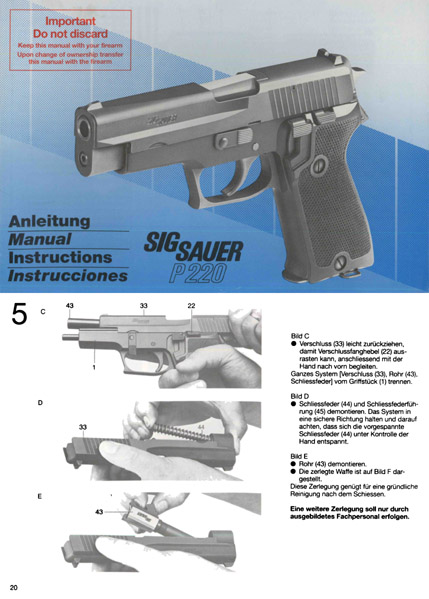SIG P220 Pistol Manual- In English, German, French and Spanish