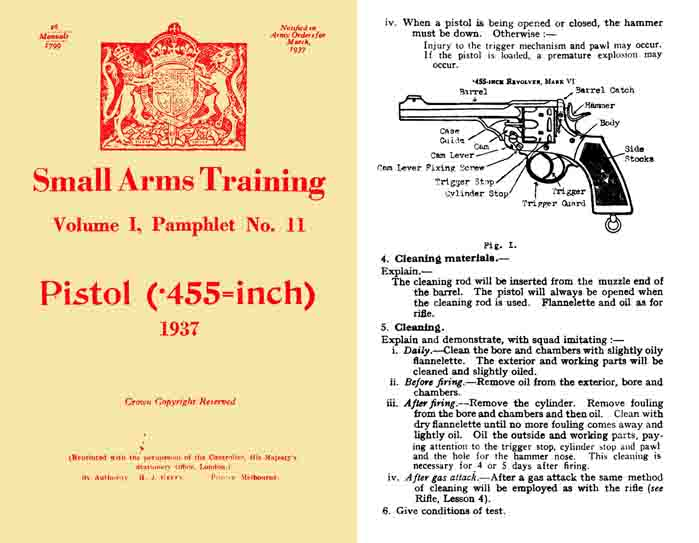 Enfield/Webley .455 Revolver/Pistol 1937 British Small Arms Training- Manual