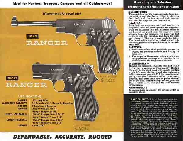 Firearms International c1955 Ranger Pistol/Rifle Flyer