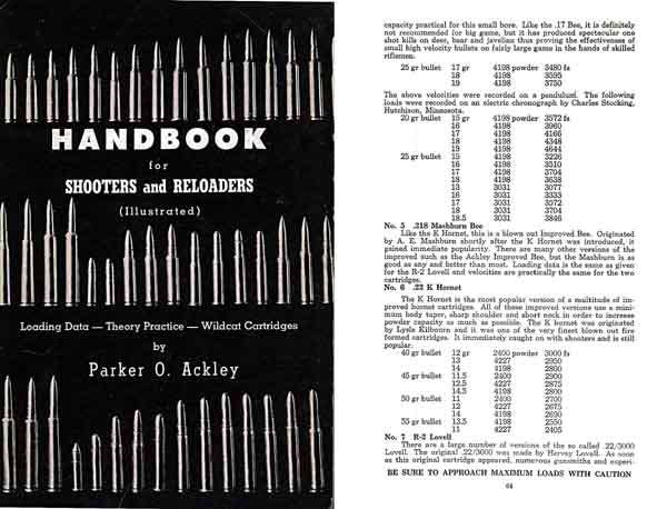 Handbook for Shooters & Reloaders 1959 Ackley-Wildcat