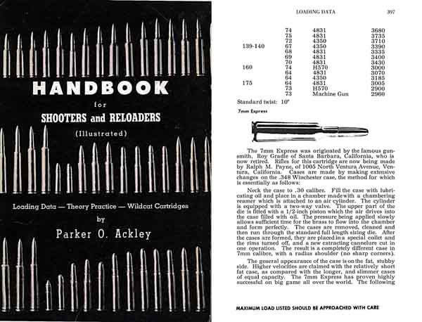 Handbook for Shooters & Reloaders Vol I 1962 Ackley-Wildcat