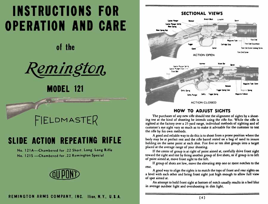 Remington Model 121 Fieldmaster Manual