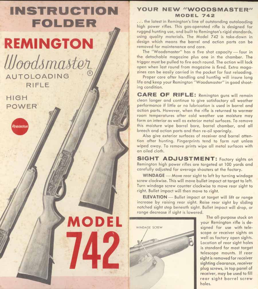 Remington Model 742 Woodmaster Manual c1959