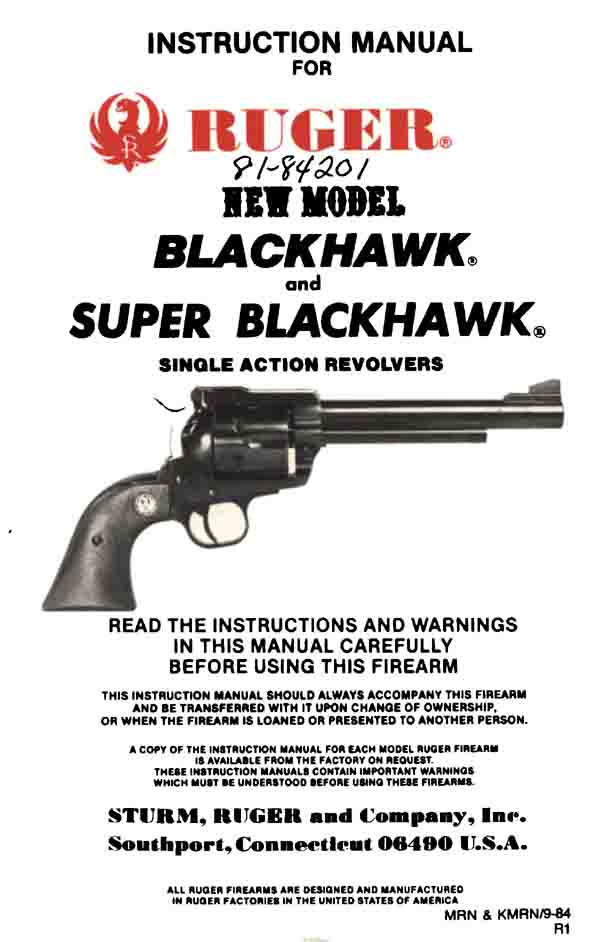 Ruger 1984 New Super Blackhawk Manual